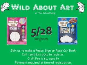 Paint a Peace Sign Bank or Race Car Bank @ The School Shop | Bloomington | Illinois | United States